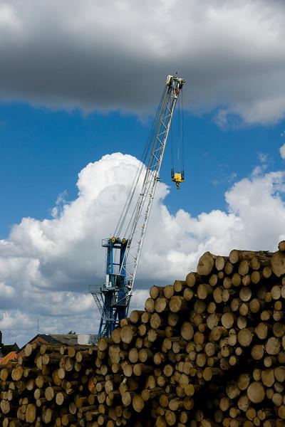 Tømmer klar til udskibning fra Køge havn