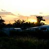 Køge Sydstrand Camping ved solnedgangstid