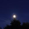 ISS, Månen och Mars över trädgården i Lund 8 Juni 2014