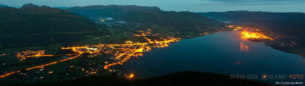 2011, bygdarenuten, bynight, nattbilder, panorama, svein egil økland foto, Ølen, ørnaberg, fjell, vindafjord, olen, fjord, ølensfjord, westcon yards,