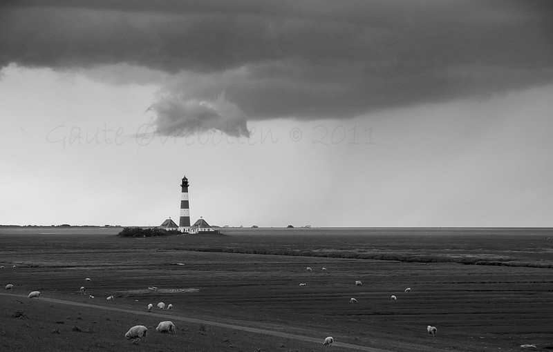 Westerhever fyr, St Peter-Ording, Tyskland  (Westerhever beacon, Germany))