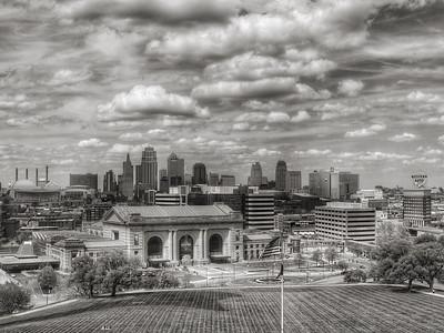 Kansas City Skyline -  Black and White