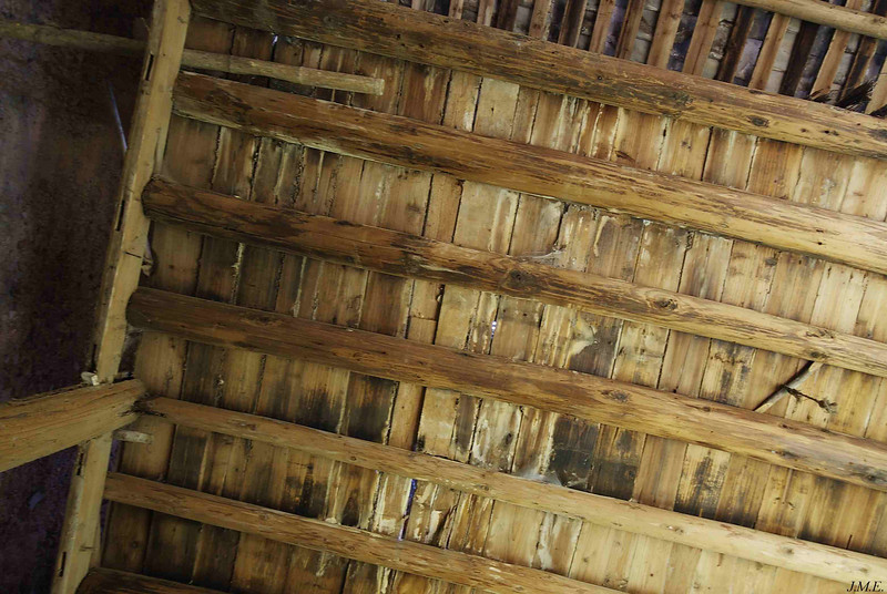 View of interior ceiling with storage and sleeping loft above.
