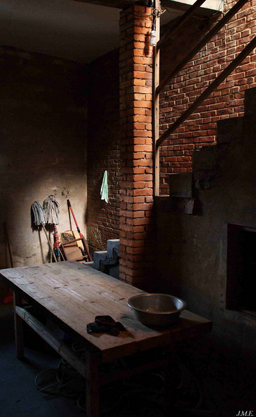 Langqi Town: Mops illuminated by light from staircase.