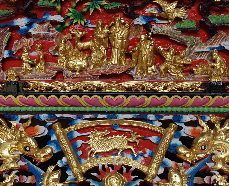Detail of temple altar in Hai Yue Village.