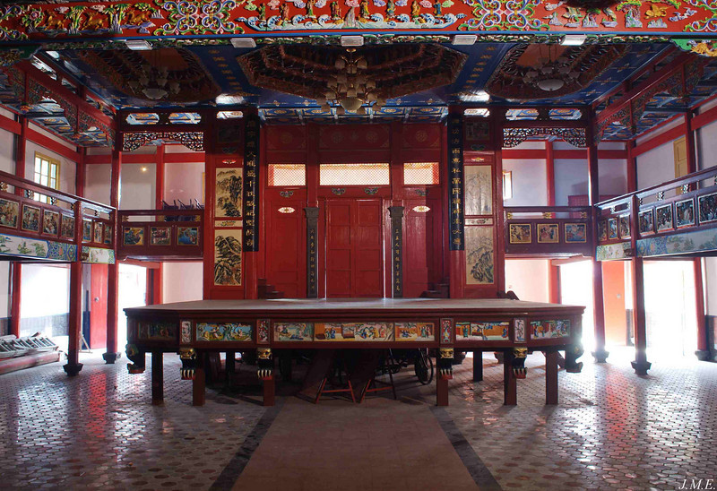 View of a ceremonial stage in a Yun Long temple.
