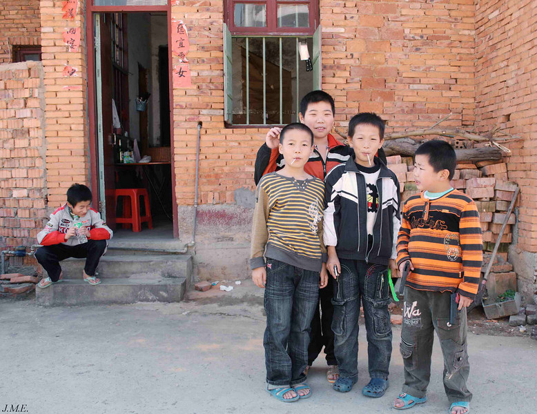 Near Yung Long Village: A group of boys pause for an impromtu photograph.