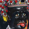 Ceremonial parade character with worried expression.
