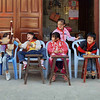 Primary school girls on recess for lunch in Hai Yue Village.