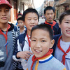 Middle-school boys recess for lunch in Hai Yue Village.