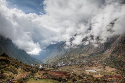 Looking back at Langtang village