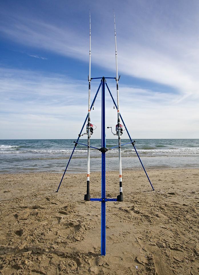 Fishing Poles.  Pérols Beach.