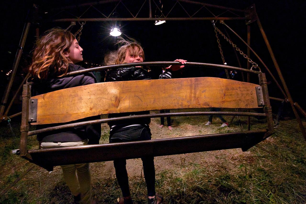 Girls On A Swing.  ZAT Fire Fair, Montpellier