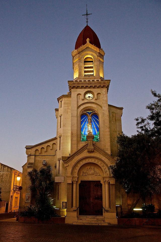 Illuminated Church.  Palavas-Les-Flots