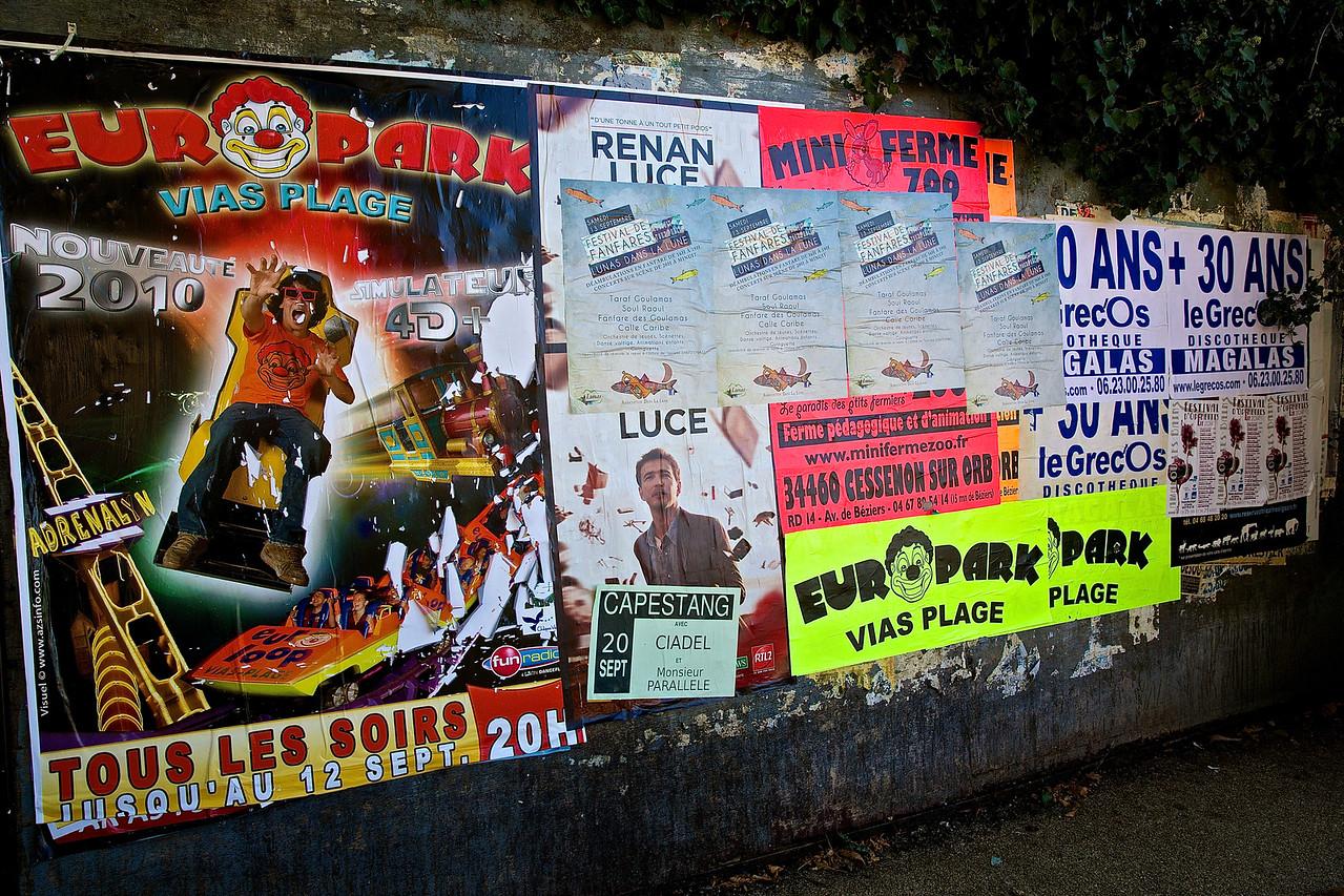 Billboard.  Downtown Faugères.