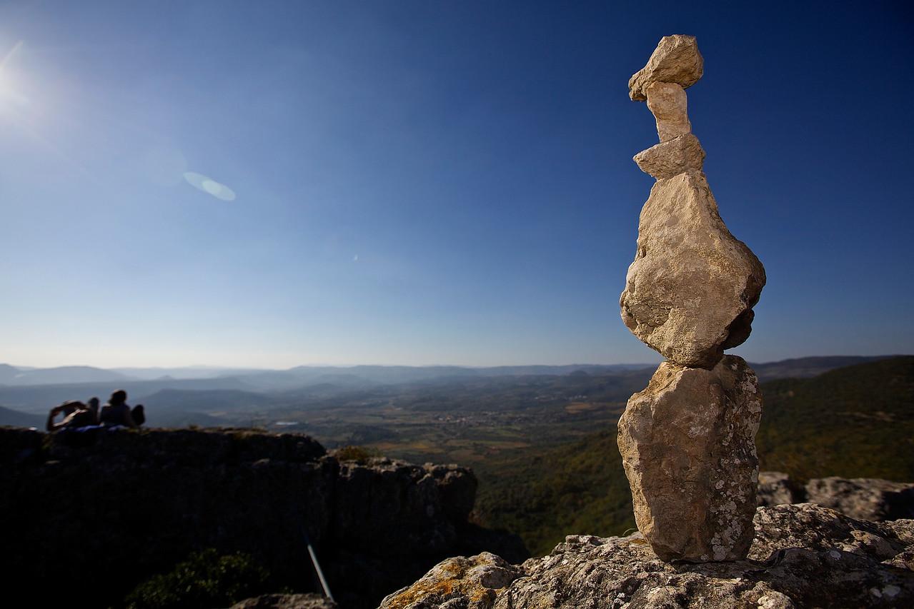Rock Formation.  Rocher des deux Vierges, Above Saint-Saturnin-de-Lucian.