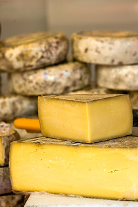 traditional cheese on a market stall,Languedoc, southern France