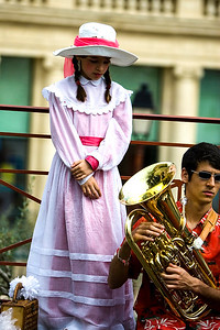 young girl in traditional dress at a village celebration,Languedoc, southern France