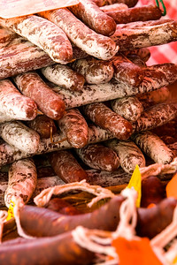 traditinal artisan meat on a market stall,Languedoc, southern France