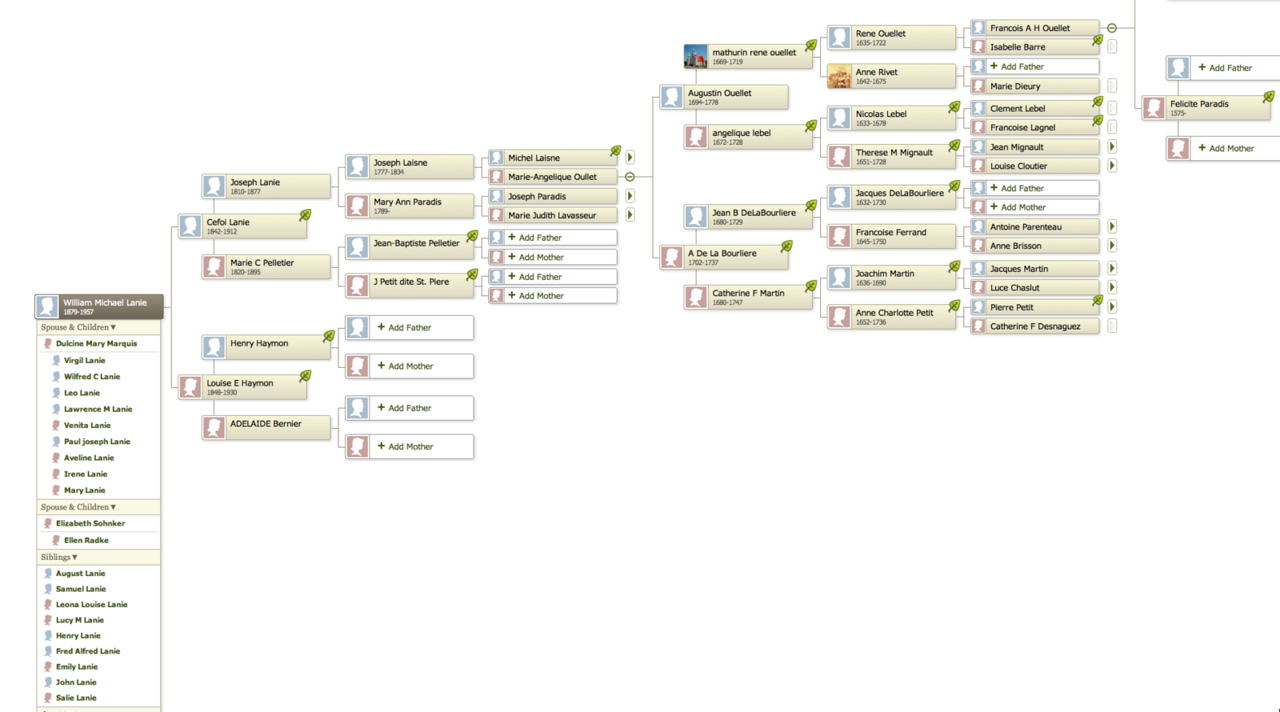 William Lanie Family Tree traced on the Ouellet lineage.