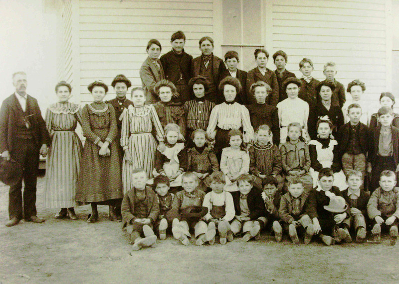 Meikle School Photo Taken in 1904.  Emily Kucera Burlie, Bessie Burlie Lanie's mother, in the stripped dress on the right of the other girl with a similar dress.