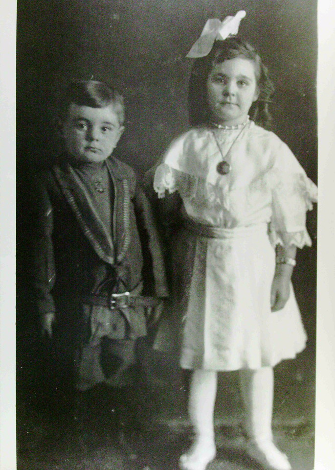 Virgil and Marie Lanie, children of William and Dulcine Lanie, taken in 1912 in Wolcott, Indiana.