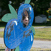 Lanni Orchards in Lunenburg held a Sunflower Festival on Saturday, August 31, 2019. Alisandra Younker, 9, of Nashua poses as a blueberry for a picture during the festival. SENTINEL & ENTERPRISE/JOHN LOVE