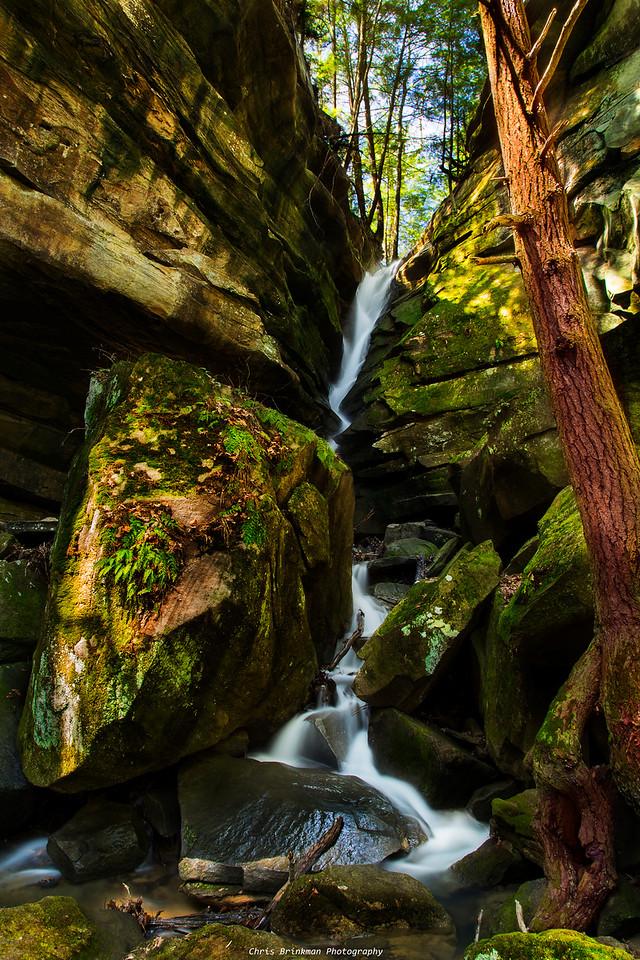Broken rock falls