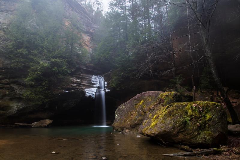 A foggy Lower Falls