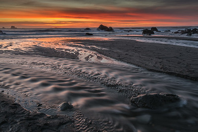 Klamath cove river mouth at sunset