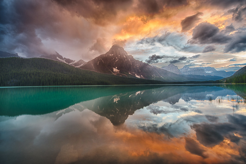 Fire and Smoke - Waterfowl Lakes Banff National Park