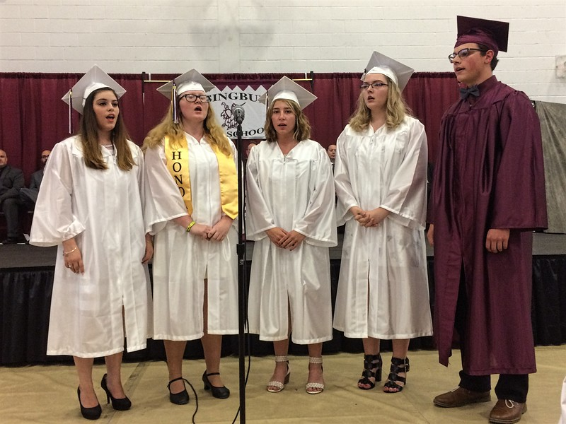 "MARK ROBARGE - MROBARGE@TROYRECORD.COM <br /> Graduating members of the Lansingburgh High School chorus perform ""And So It Goes"" during the school's 115th Commencement on Friday night."
