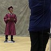 MARK ROBARGE - MROBARGE@TROYRECORD.COM<br /> Kyasia Brant has his graduation portrait shot during Lansingburgh High School's 115th Commencement on Friday night.