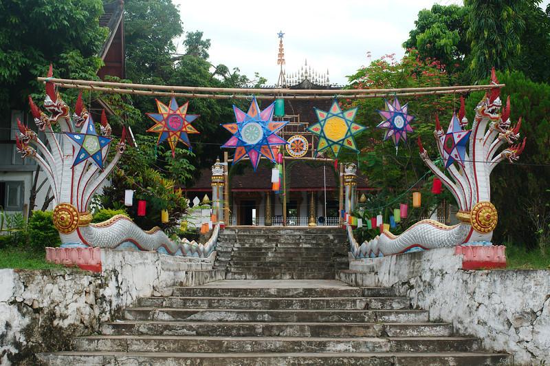 Wats throughout Luang Prabang are decorated with colourful lanterns for Boun Lay Hua Fai