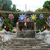 Wats throughout Luang Prabang are decorated with colourful lanterns for Boun Lay Hua Fai