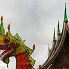 A festival float on display in the courtyard of Wat Xieng Thong