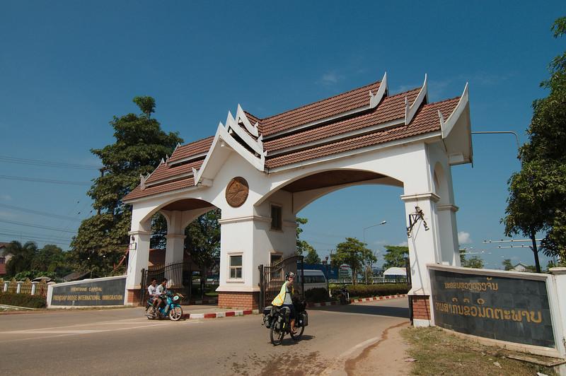 About to enter Thailand via the Thai-Lao Friendship Bridge outside Vientiane