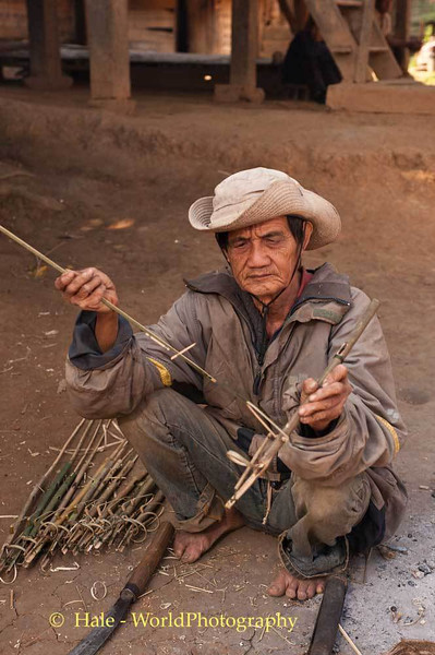 Khmu Bird Snare Maker Outside of Luang Prabang, LPDR