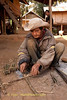 An Elderly Khmu Man Making A Bird Snare In Lao People's Democratic Republic