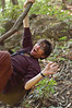 Yann swings on a vine