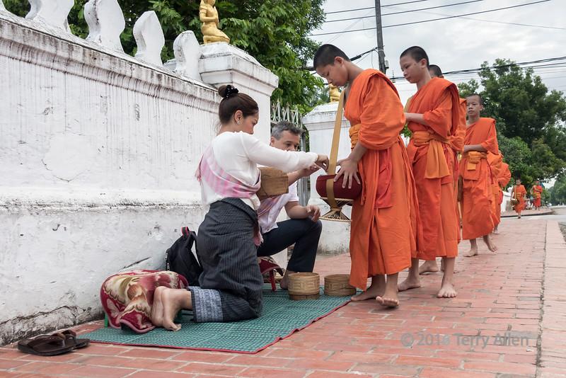 Young monks receiving rice alms, Wat Sene temple, Luang Prabang, Laos