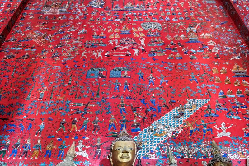 Mosaic wall detail, royal barge inclosure, Wat Xieng Thong temple complex, Luang Prabang, Laos