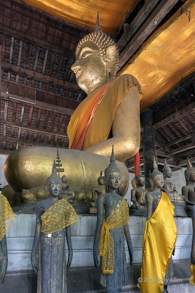 Side view of large Buddha, Wat Wisunalat, Luang Prabang, Laos