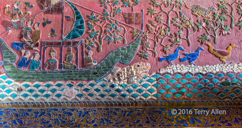 Glass mosaic detail, Royal barge enclosure, Wat Xieng Thong temple complex, Luang Prabang, Laos