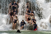 Fun in the falls, Kuang Xi fall, near Luang Prabang, Laos