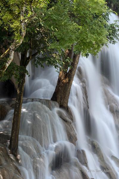 Kuang Xi waterfull at high water with trees, Southwest of Luang Prabang, Laos