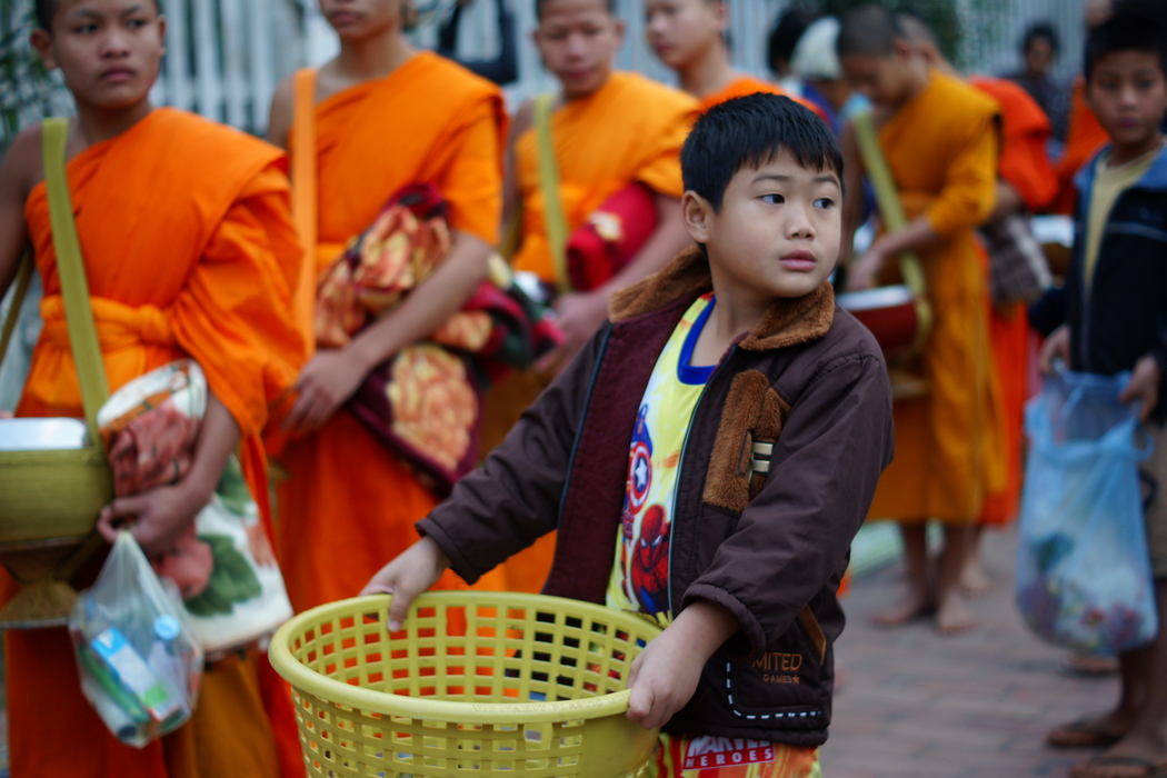 Boy & Buddhist Monks | Almsgiving, Laos | Travel Photo