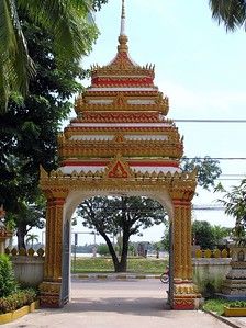 A temple in Vientiane, Laos, in August 2005