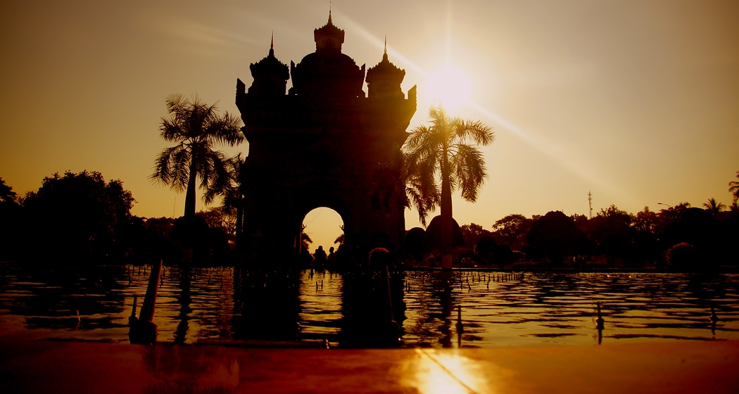 Patuxai Arch during Sunset in Vientiane, Laos