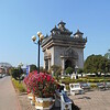 after a one day stopover in Bangkok, we flew on to Vientiane, the capitol of Laos.  This is the Patuxai, which resembles the Arc de Triomphe (sort of), with Buddhist touches.  We climbed to the top.